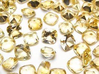 天然石卸 宝石質シトリンAAA 穴なしスクエアファセットカット8×8mm 5粒780円!