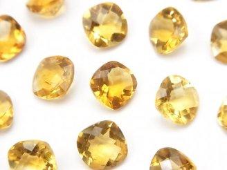 天然石卸 宝石質シトリンAAA 穴なしスクエアファセットカット8×8mm 5粒980円!
