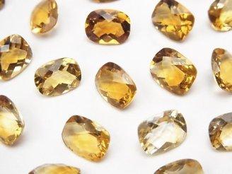 天然石卸 宝石質シトリンAAA 穴なしレクタングルファセットカット9×7mm 5粒880円!
