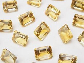 天然石卸 宝石質シトリンAAA 穴なしレクタングルファセットカット9×7mm 4粒880円!