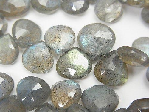 宝石質ラブラドライトAAA- マロン ブリオレットカット 半連/1連(約18cm)