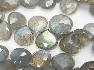 天然石卸 宝石質ラブラドライトAAA- マロン ブリオレットカット 半連/1連(約18cm)