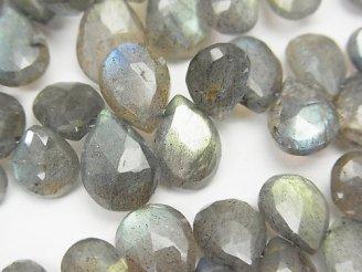 天然石卸 宝石質ラブラドライトAAA- ペアシェイプ ブリオレットカット 半連/1連(約18cm)