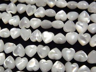 天然石卸 ホワイトシェル(白蝶貝)AAA 横穴ハート6×6×3mm 半連/1連(約38cm)