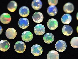 天然石卸 宝石質エチオピア産オパールAAA 穴なしラウンドファセットカット5×5mm 10粒2,780円!