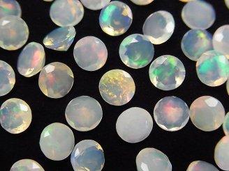 天然石卸 宝石質エチオピア産オパールAAA ラウンド ブリリアントカット6mm 6粒2,680円!