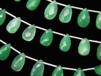 天然石卸 極上カット!宝石質クリソプレーズAAA ペアシェイプ ブリオレットカット 【Sサイズ】 1連(10粒)