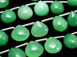 天然石卸 極上カット!宝石質クリソプレーズAAA マロン ブリオレットカット 1連(10粒)