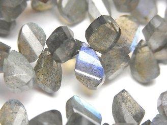 天然石卸 宝石質ラブラドライトAA++ ペアシェイプ ツイスト ブリオレットカット 半連/1連(約18cm)