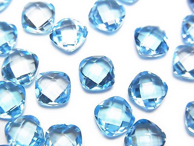 【動画】宝石質スイスブルートパーズAAA 穴なしスクエアクッションカット7×7mm 3粒