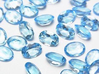 天然石卸 宝石質スイスブルートパーズAAA 穴なしオーバルファセットカット8×6×4mm 3粒1,680円!