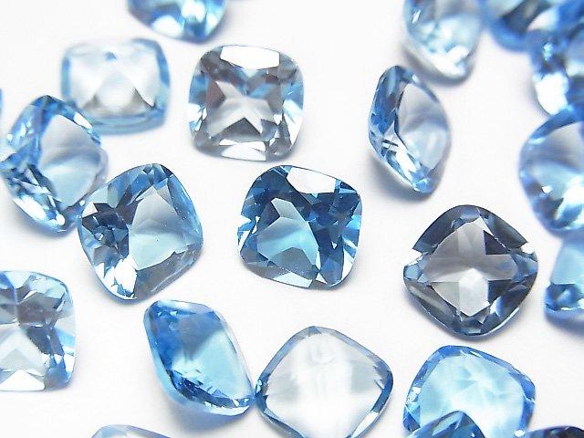 【動画】宝石質スイスブルートパーズAAA 穴なしスクエアファセットカット7×7×4mm 3粒