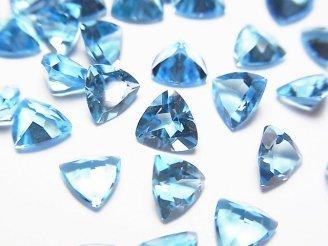 天然石卸 宝石質スイスブルートパーズAAA 穴なしトライアングルファセットカット6×6×4mm 5粒1,580円!