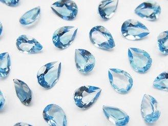 天然石卸 宝石質スイスブルートパーズAAA 穴なしペアシェイプファセットカット7×5×3mm 5粒1,580円!