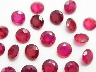 天然石卸 宝石質ルビーAAA- ブリリアントカット6×6×4mm 5粒3,980円!