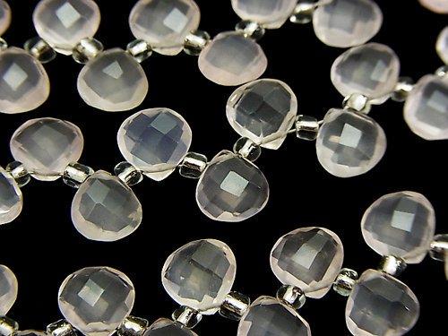 宝石質ローズクォーツAAA マロン ブリオレットカット8×8×4mm 半連/1連(約15cm)