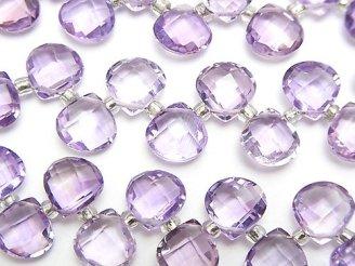 天然石卸 宝石質ピンクアメジストAAA マロン ブリオレットカット8×8×4mm 半連/1連(約15cm)