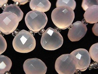 宝石質ピンクカルセドニーAAA マロン ブリオレットカット8×8×4mm 半連/1連(約15cm)