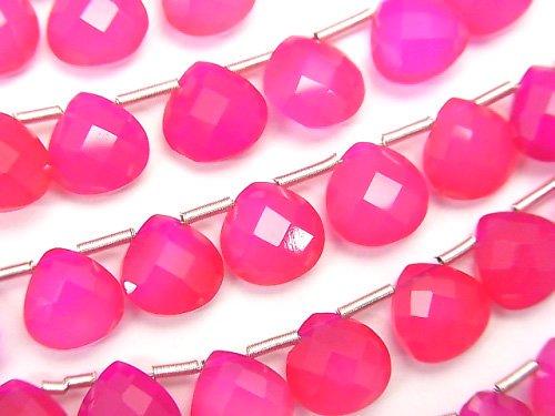 宝石質フューシャピンクカルセドニーAAA マロン ブリオレットカット8×8×4mm 半連/1連(28粒)