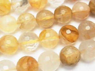 天然石卸 イエローヘマタイトクォーツ 128面ラウンドカット10mm 半連/1連(約36cm)