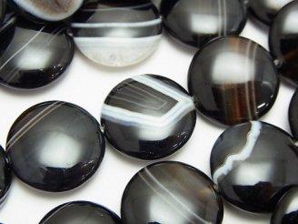 天然石卸 ストライプオニキス コイン18×18×6mm 半連/1連(約36cm)