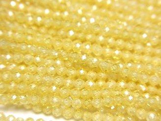 【素晴らしい輝き】キュービックジルコニアAAA 極小ラウンドカット2mm 【イエロー】 1連(約38cm)