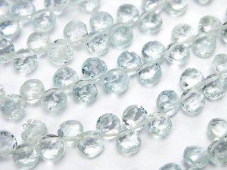 天然石卸 宝石質ベリルミックスAAA-〜AA++ コインカット 半連/1連(約18cm)