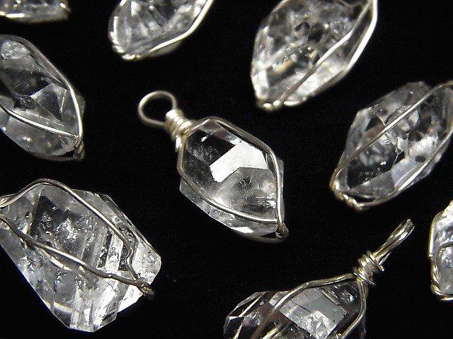 NY産ハーキマーダイヤモンドAAA ラフロックタンブル ペンダントトップ 【LLサイズ】 ワイヤー枠 SV925製 1個