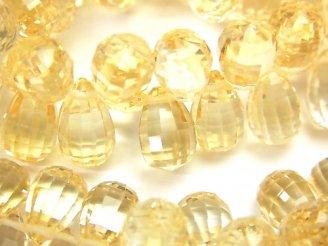 天然石卸 宝石質シトリンAAA ドロップ ブリオレットカット(チェッカーカット)10×10×6mm 5粒〜!(ブレス)