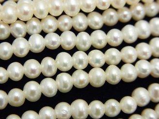 天然石卸 1連1,580円!淡水真珠AA++ ポテト4〜5mm ホワイト 【1mm穴】 1連(約36cm)