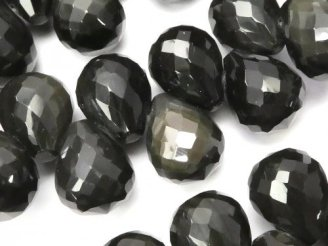 天然石卸 レインボーオブシディアン ドロップ ブリオレットカット12×10×10mm 10粒〜1連(ブレス)