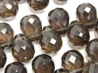 天然石卸 スモーキークォーツAAA ドロップ ブリオレットカット13×10×10mm 10粒〜1連(ブレス)