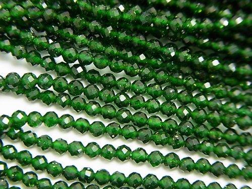 【動画】【素晴らしい輝き】グリーンゴールドストーン 極小ラウンドカット2mm 1連(約37cm)