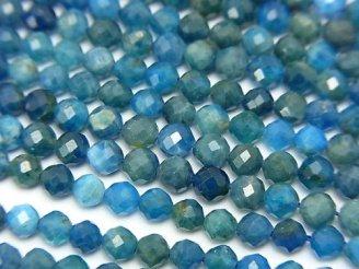天然石卸 素晴らしい輝き!ブルーアパタイトAA++〜AA+ 32面ラウンドカット4mm 半連/1連(約37cm)