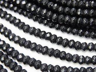天然石卸 1連480円!ブラックカラージェード ボタンカット4×4×2mm 1連(約35cm)