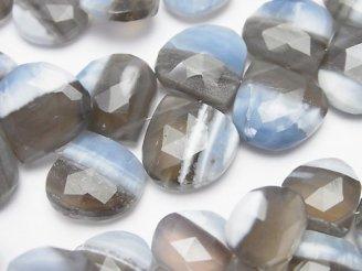 天然石卸 ストライプブルーオパールAAA- マロン ブリオレットカット 半連/1連(約18cm)