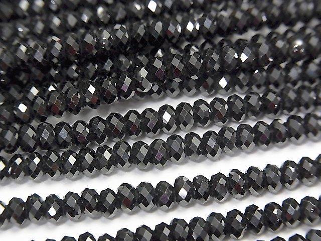 【動画】【素晴らしい輝き】宝石質ブラックスピネルAAA ボタンカット4×4×2.5mm 1連(約37cm)