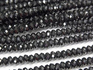 天然石卸 素晴らしい輝き!1連880円!宝石質ブラックスピネルAAA ボタンカット4×4×2.5mm 1連(約37cm)