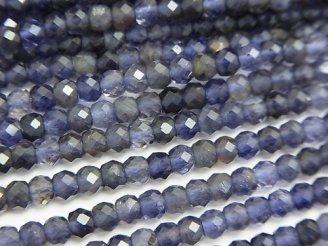 天然石卸 素晴らしい輝き!1連1,380円!アイオライトAAA- ボタンカット4×4×2.5mm 1連(約38cm)