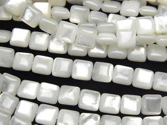 天然石卸 高品質ホワイトシェル(白蝶貝)AAA スクエア6×6×3mm 半連/1連(約38cm)
