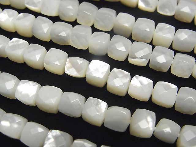 高品質ホワイトシェル(白蝶貝)AAA キューブカット6×6×6mm 1/4連〜1連(約38cm)