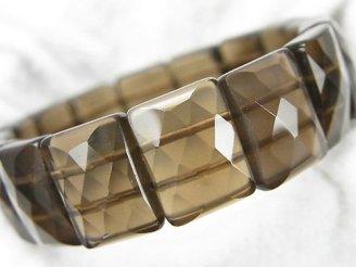 天然石卸 1連1,580円!スモーキークォーツAAA- 2つ穴レクタングルカット16×12×7mm 1連(ブレス)