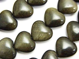 天然石卸 1連980円!ゴールデンシャインオブシディアン 縦穴ハート12×14×6mm 1連(約37cm)
