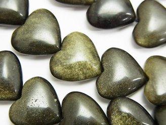 天然石卸 ゴールデンシャインオブシディアンAAA 縦穴ハート15×16×7mm 半連/1連(約37cm)