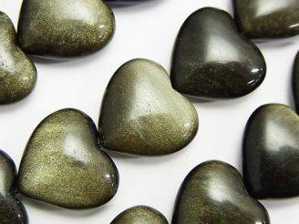 天然石卸 ゴールデンシャインオブシディアンAAA 縦穴ハート16×18×7mm 半連/1連(約36cm)
