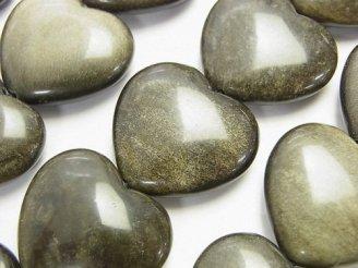 天然石卸 ゴールデンシャインオブシディアンAAA 縦穴ハート22×25×8mm 半連/1連(約38cm)
