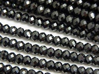 天然石卸 素晴らしい輝き!ブラックトルマリンAAA ボタンカット5×5×3mm 1連(約37cm)