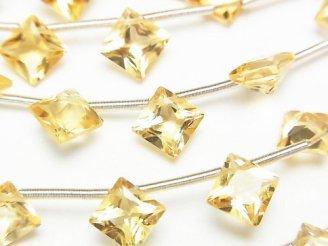 天然石卸 1連1,380円!宝石質ブラジル産シトリンAAA ダイヤ プリンセスカット8×8mm 1連(10粒)
