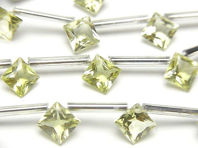 【動画】宝石質ブラジル産レモンクォーツAAA ダイヤ プリンセスカット8×8mm 1連(8粒)
