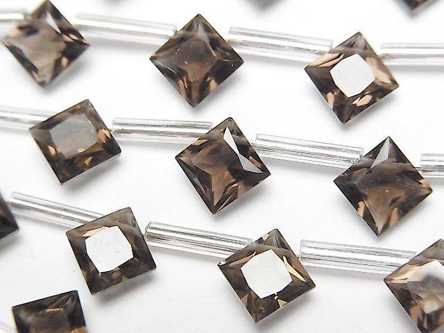 宝石質スモーキークォーツAAA ダイヤ プリンセスカット8×8mm 1連(8粒)
